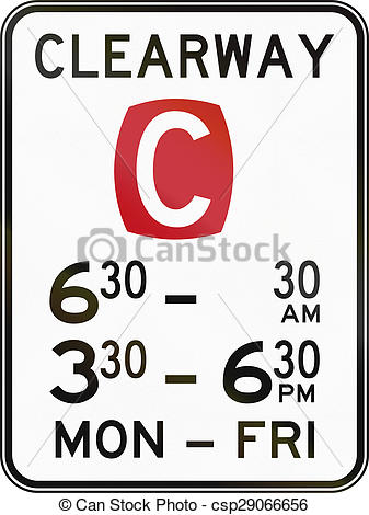 Stock Illustrations of Clearway In Specified Times In Australia.