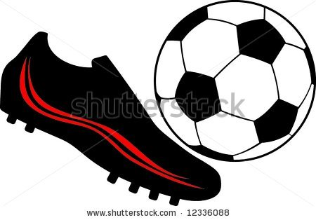 Soccer ball and cleats clipart.