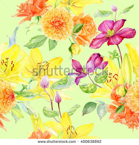 Clematis Flower Yellow Stock Photos, Royalty.