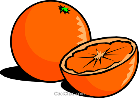 Sliced Oranges Royalty Free Vector Clip Art illustration.