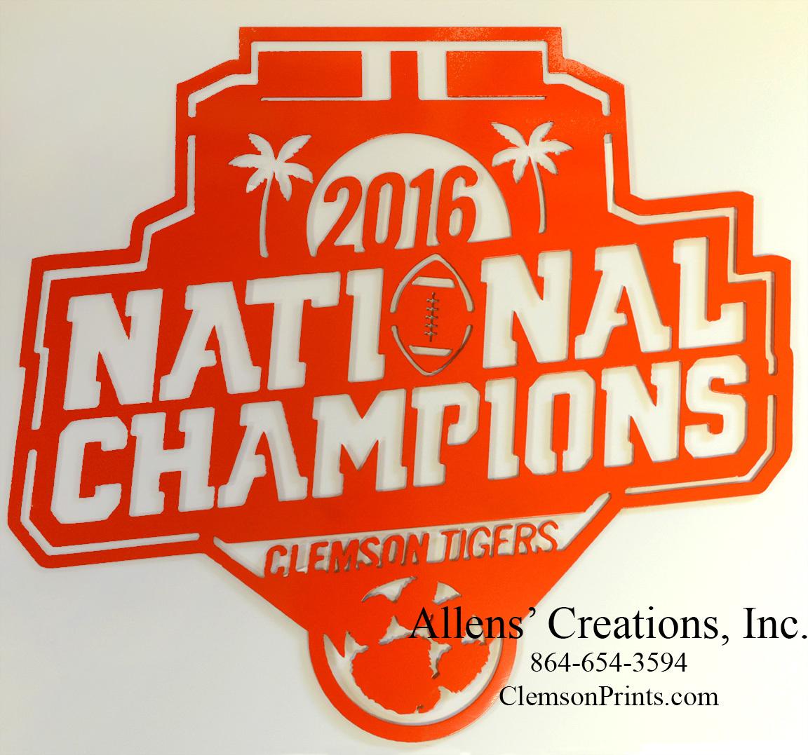 2016 National Champions Logo Metal Art.