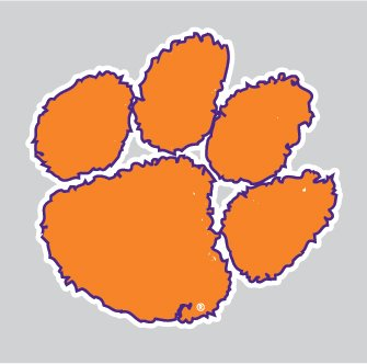 Clemson Tigers Purple Outlined TIGER PAW Logo 4\