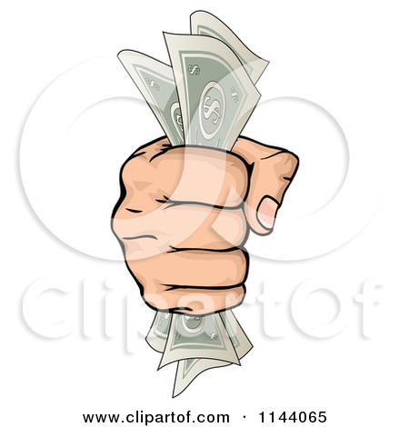 Clipart of a Hand Clenching Cash Money in a Fist.