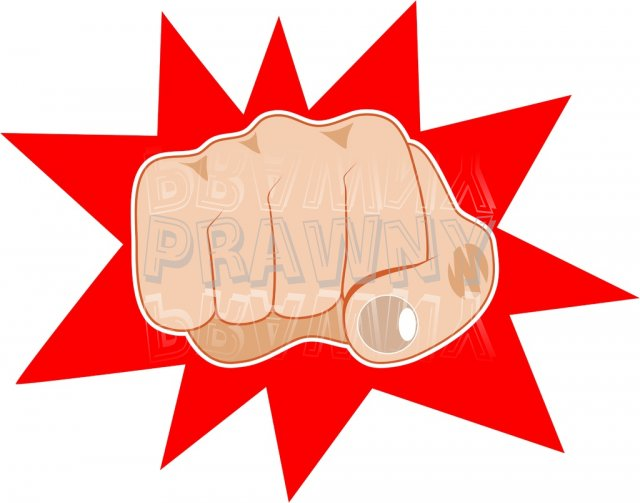 A Clenched Angry Fist Anatomy Clip Art.