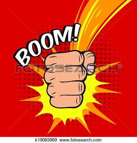 Clip Art of Clenched fist boom hit k19063969.