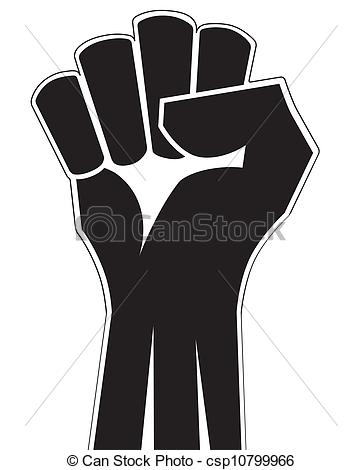 Clip Art Vector of Clenched fist hand vector. Victory, revolt.