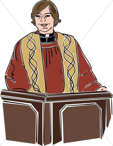 Female Preacher Behind Lectern.