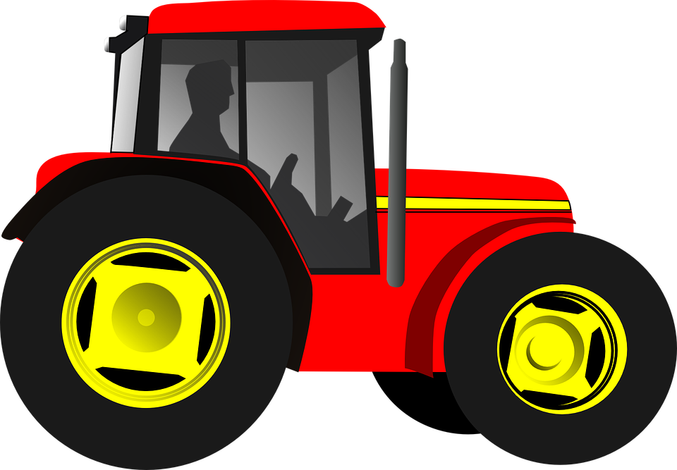 Free vector graphic: Tractor, Trekker, Driver, Red.