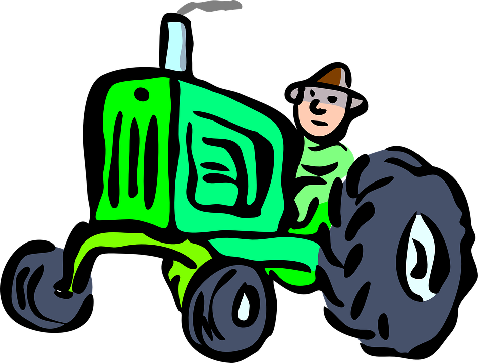 Free vector graphic: Tractor, Driver, Countryside, Farm.