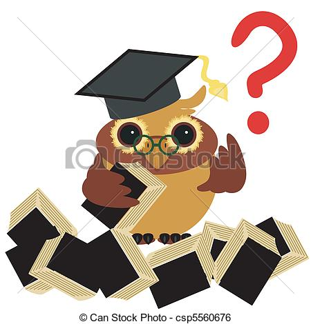 Clipart Vector of clever owl with book on white background vector.