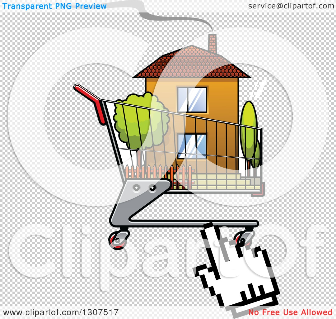 Clipart of a Hand Computer Cursor Clicking on a House in a.
