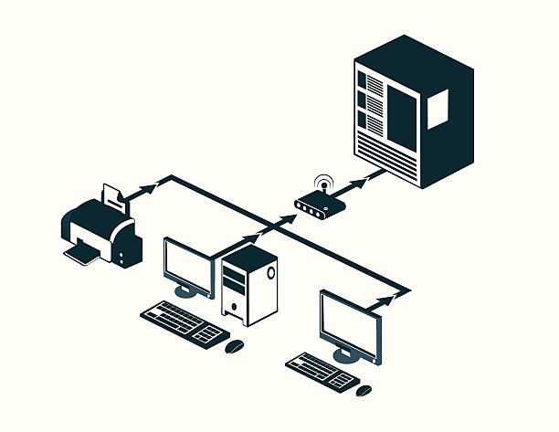 Internet Client Server Architecture Illustrations, Royalty.