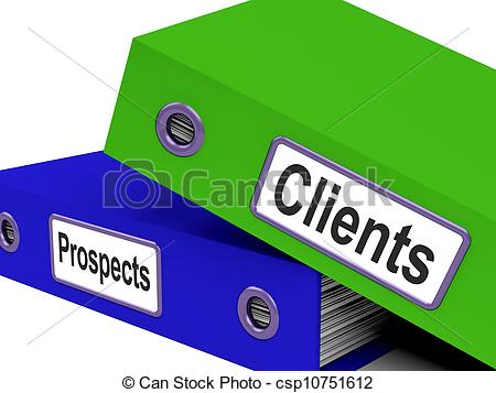 Clipart of Clients And Prospects Files Shows Converting Leads.