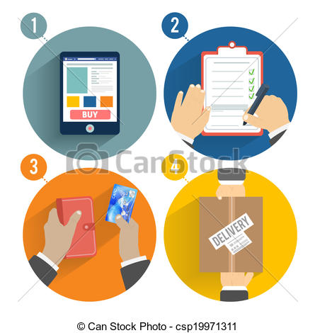 Vector Clip Art of Set of hands clients purchasing. Order of the.