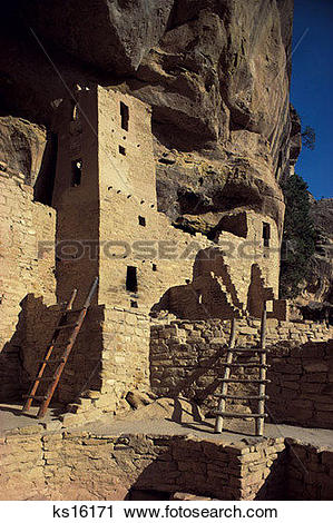 Stock Photography of Wild West, Architecture, Cliff Dwellings.