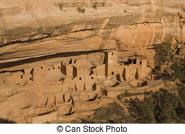 Stock Photographs of Cliff dwellings in Mesa Verde National Parks.
