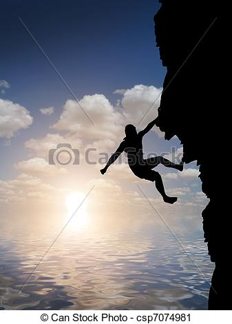 Clipart of man on top of the mountain reaches for the sun.