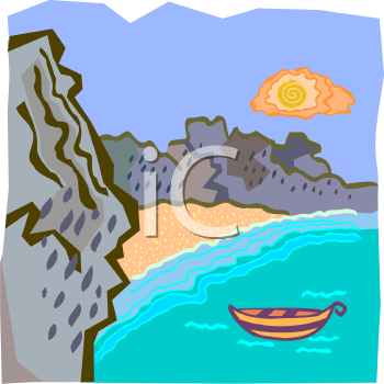 Rocky Cliffs and a Rowboat in a Beach Cove.