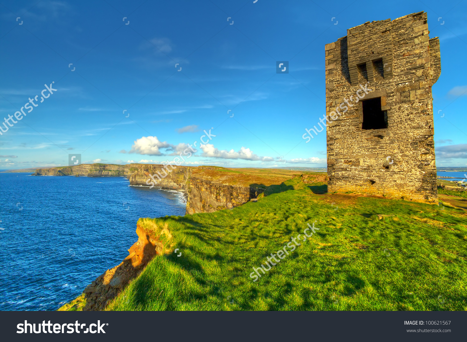 Ruins Old Castle On Cliffs Moher Stock Photo 100621567.