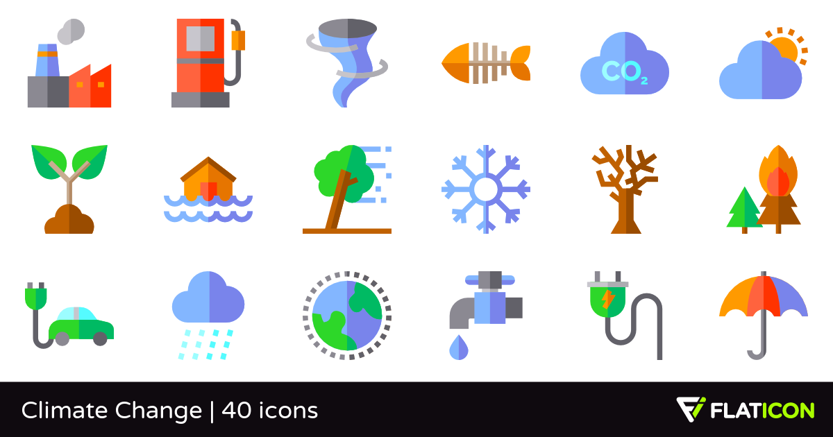 Climate Change 40 free icons (SVG, EPS, PSD, PNG files).