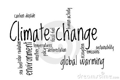 Climate Change Word Cloud Stock Photo.