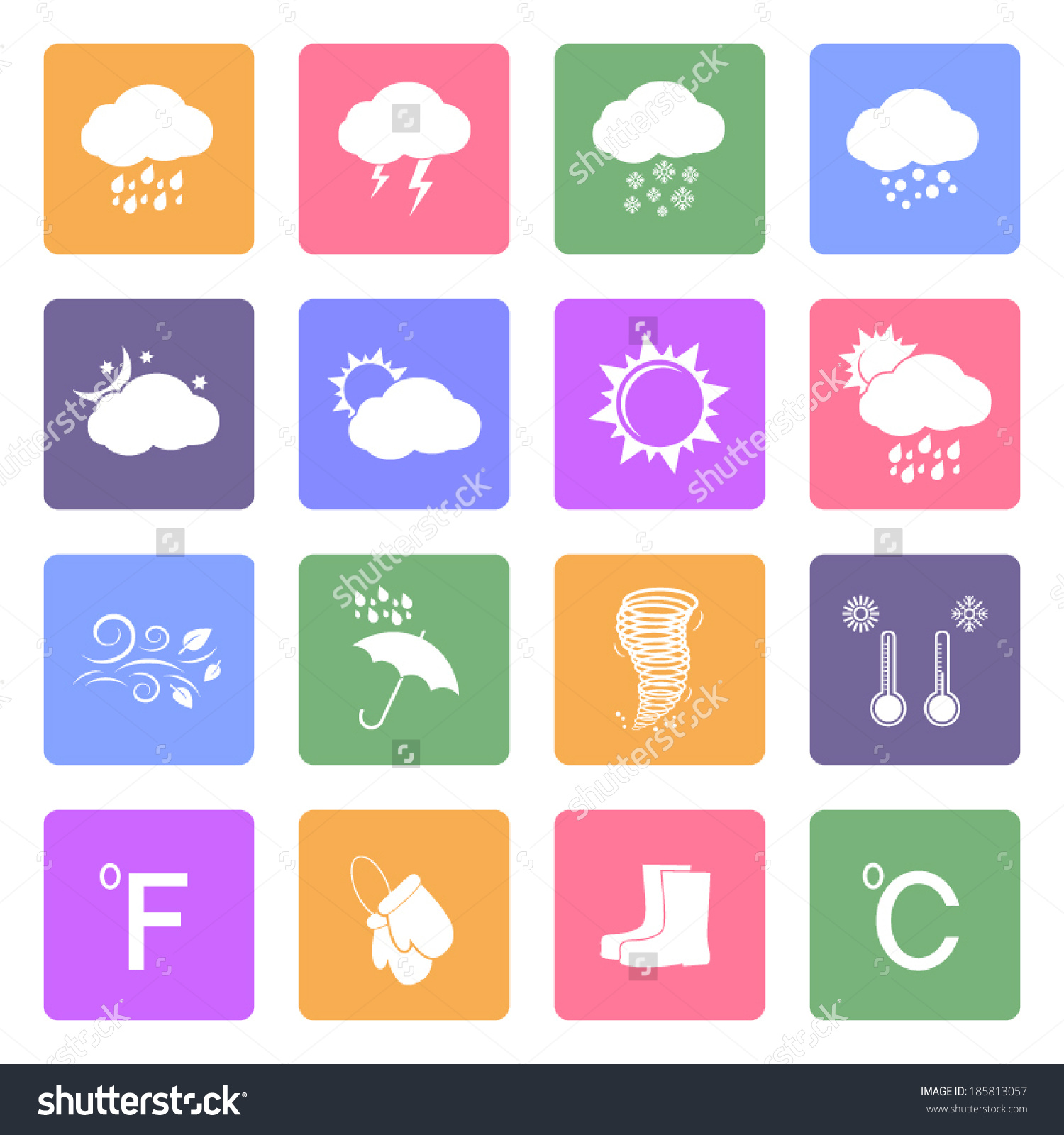 Weather Icons Set, Flat Design Vector.
