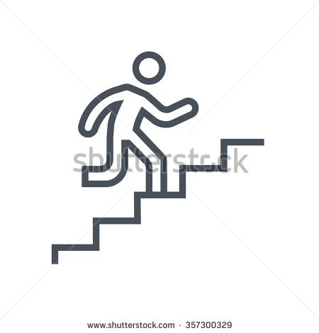 Man climbing stairs clipart.
