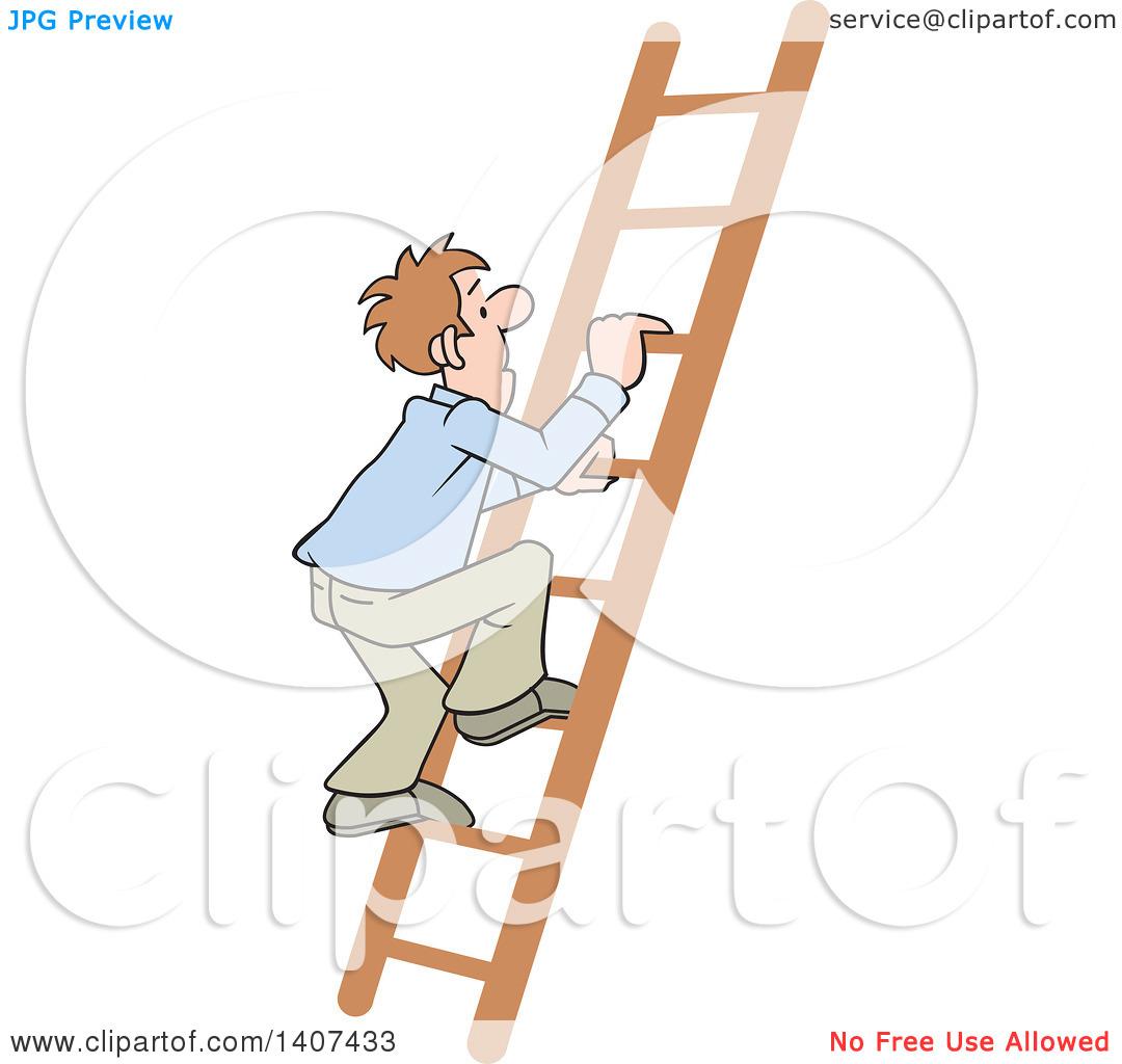 Clipart of a Cartoon Caucasian Business Man Climbing up a Ladder.