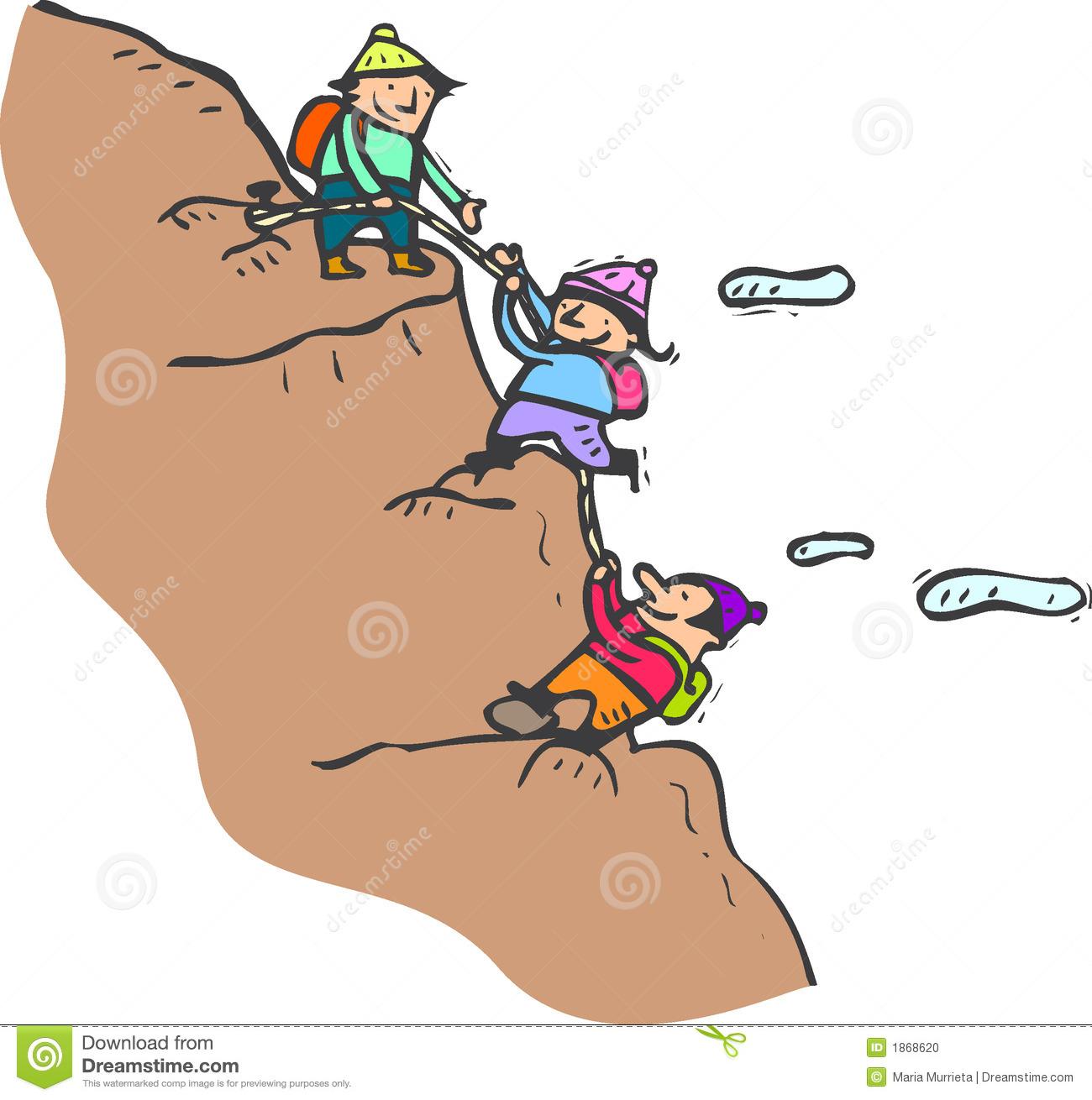 Climbing Up a Mountain Clip Art.