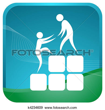 Stock Illustration of human helping each other to climb up the.