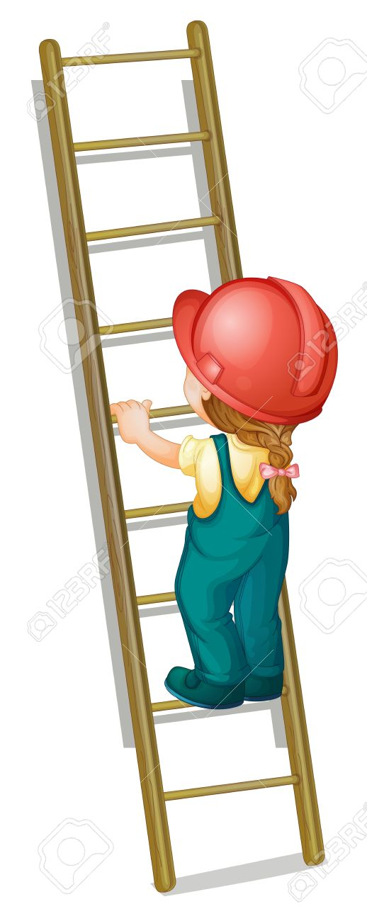 Illustration Of A Kid Going Up A Ladder Royalty Free Cliparts.