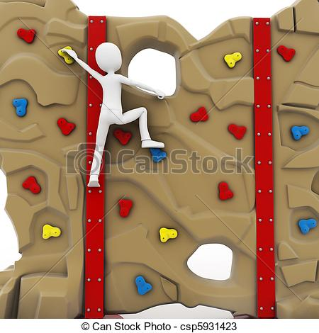 Man climbing wall clipart.