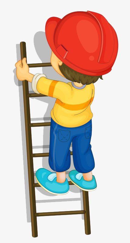 Little Boy Climbing A Ladder.