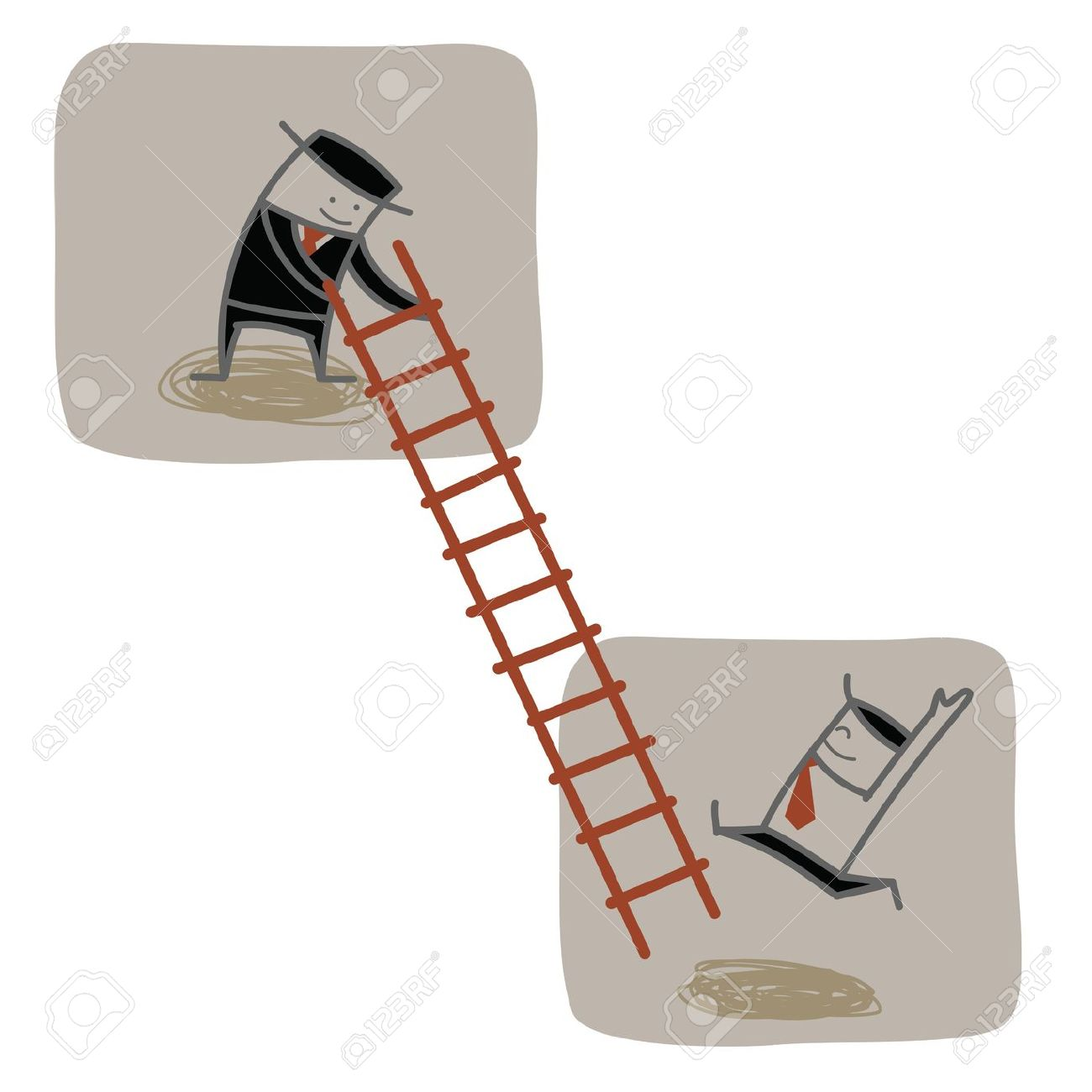 Businessman Help Another To Climb Ladder Up Royalty Free Cliparts.