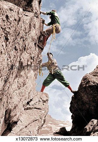 Stock Photo of Ascending, Climbing, Cliff, Caucasian, Aid.