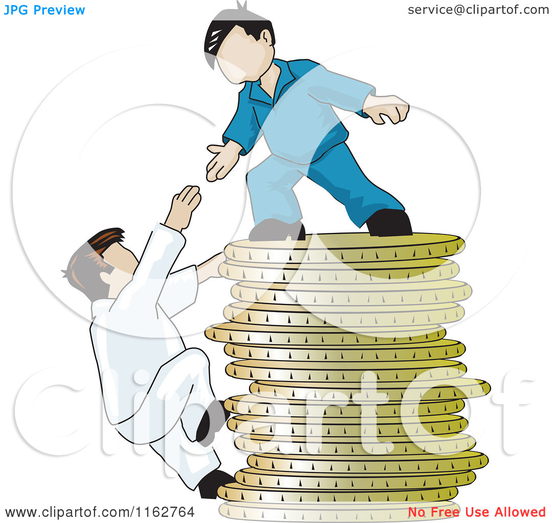 Cartoon of a Man on Top of a Pile of Coins Reaching down to Help a.