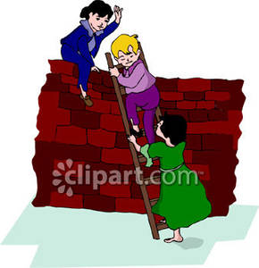 Climbing a Wall Royalty Free Clipart Picture.