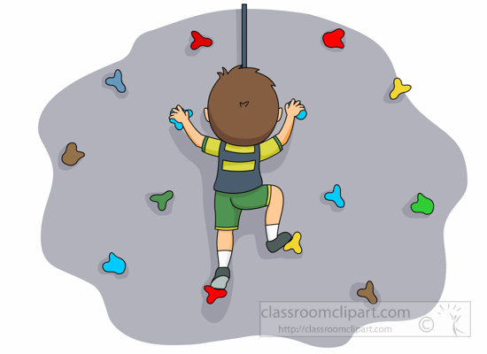 Rock climbing wall cartoon