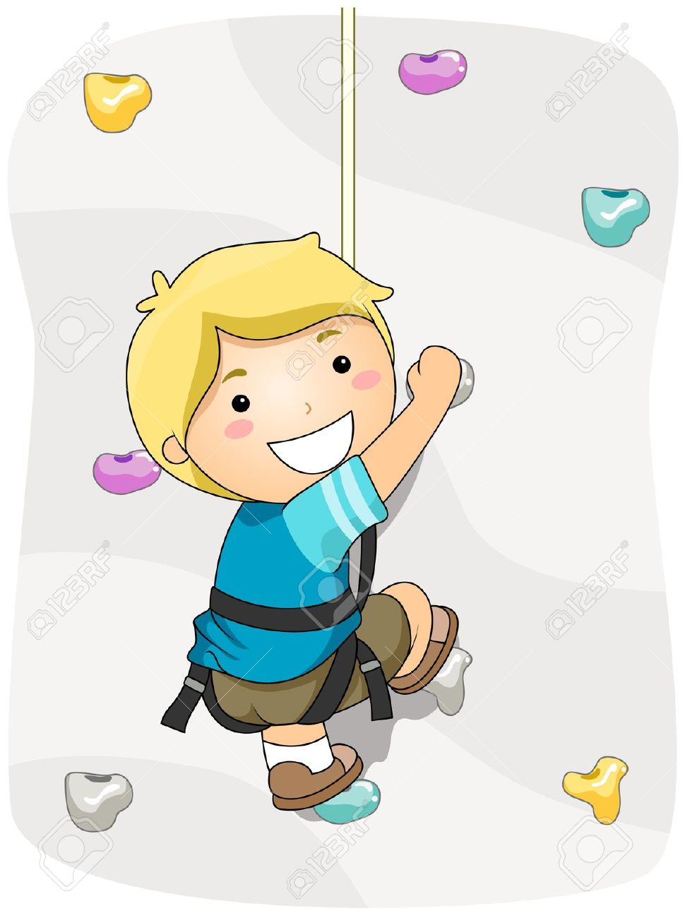 Boy Wall Climbing Stock Photo, Picture And Royalty Free Image.