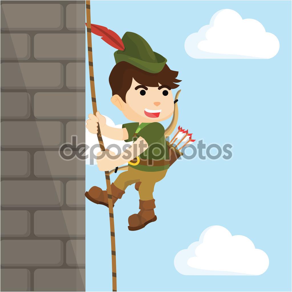 Robin hood climbing wall castle — Stock Vector.