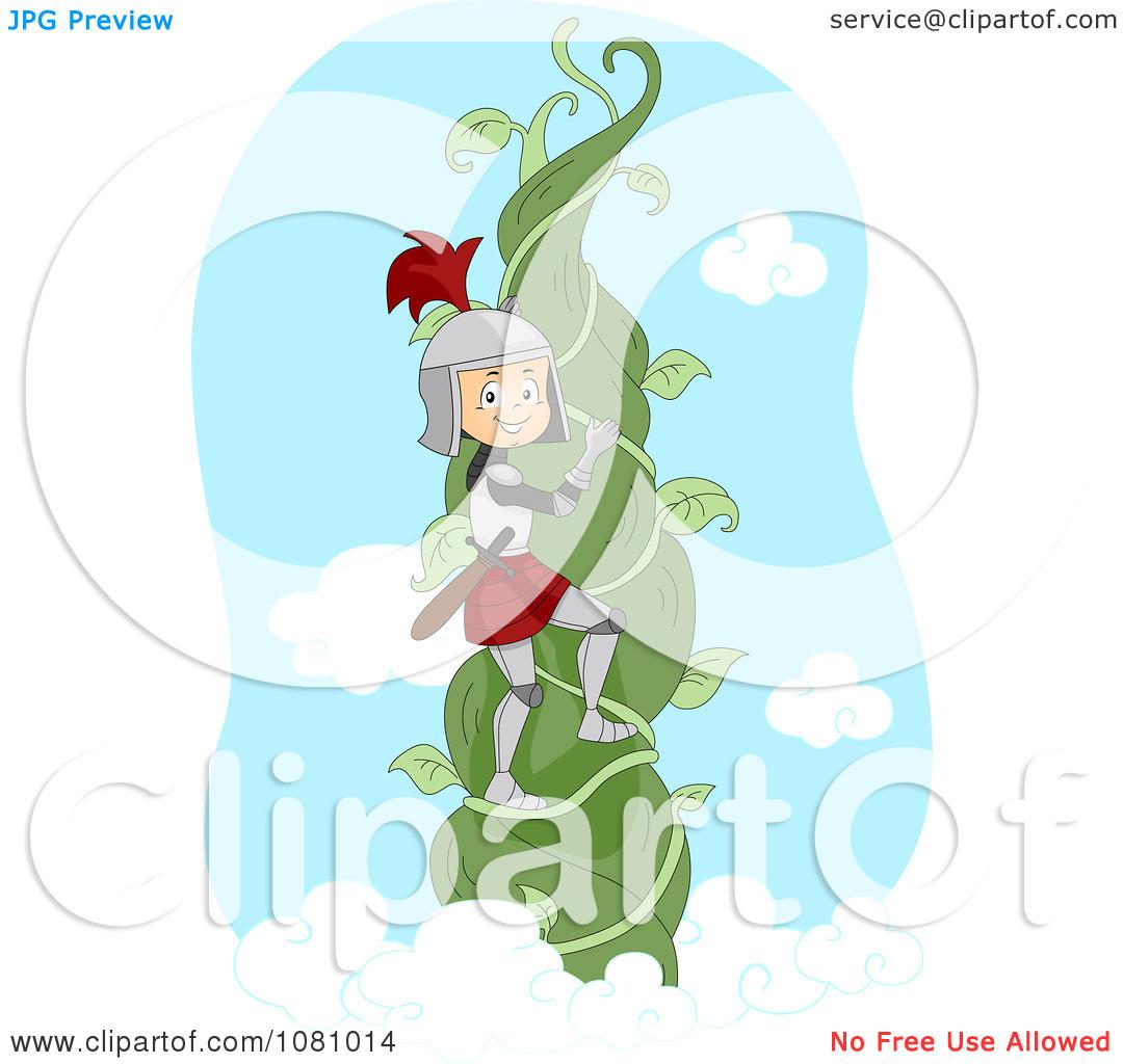 Clipart Knight Climbing A Beanstalk Vine.