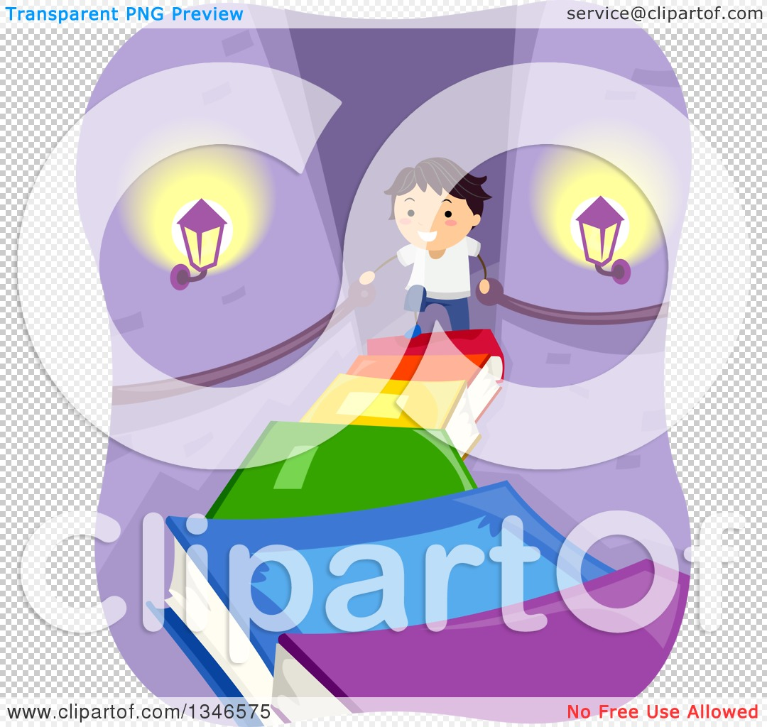 Clipart of a Happy Boy Climbing a Staircase of Books in a Castle.