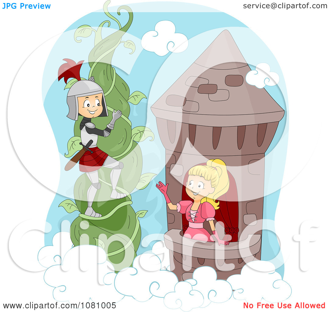 Clipart Knight Climbing A Vine To Rescue A Princess.