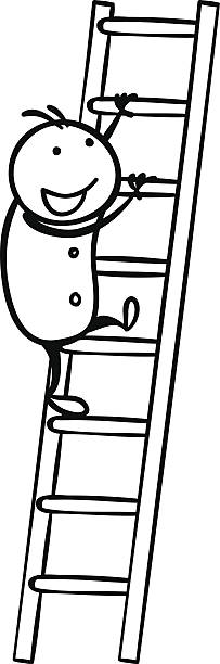 Best Black And White Cartoon Ladder Illustrations, Royalty.
