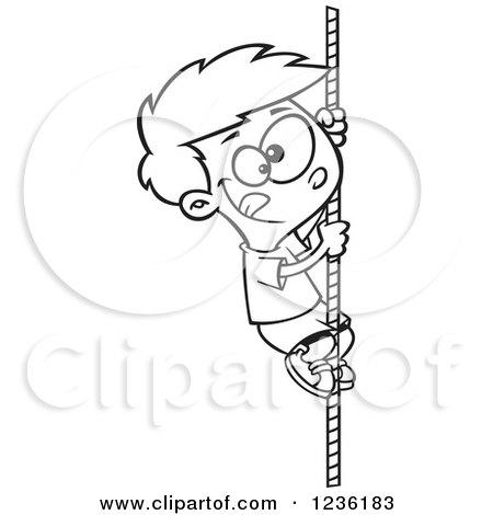 Clipart of a Black and White Cartoon Boy Climbing a Mountain.
