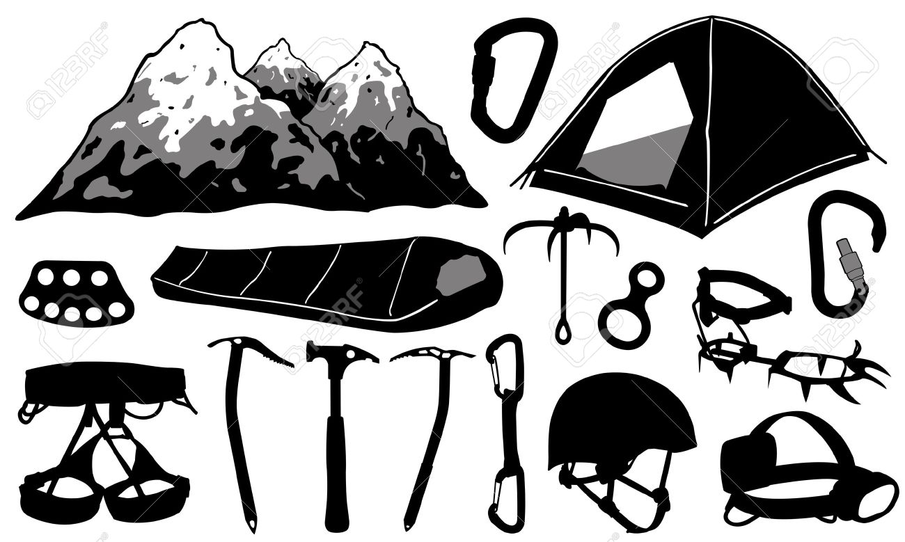 Mountain Climbing Equipment Clip Art.