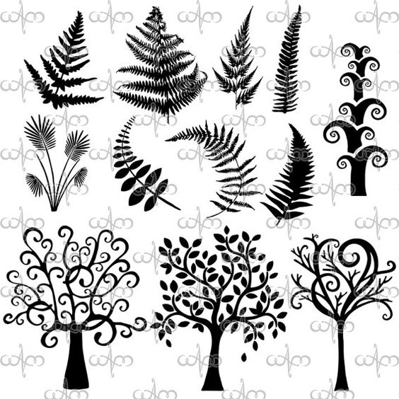 Whimsical Trees and Ferns Clip Art Graphic Design Pattern for your.