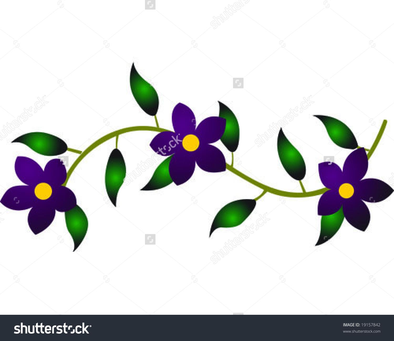 Purple Flower Vine Vector Illustration Stock Vector 19157842.