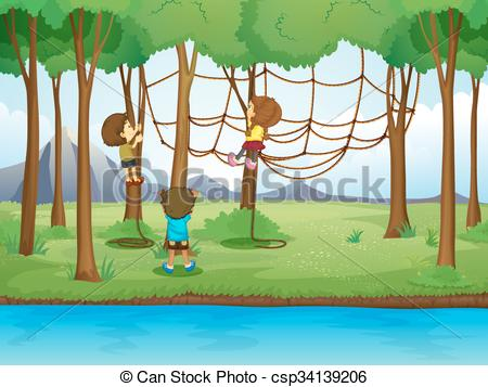 Vector Clipart of Children climbing rope in the forest.