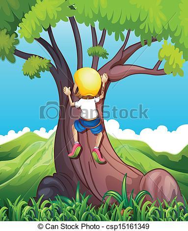 EPS Vector of A young girl climbing.